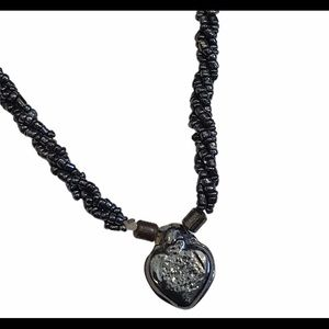 4/$25 Dark navy twisted bead necklace with heart